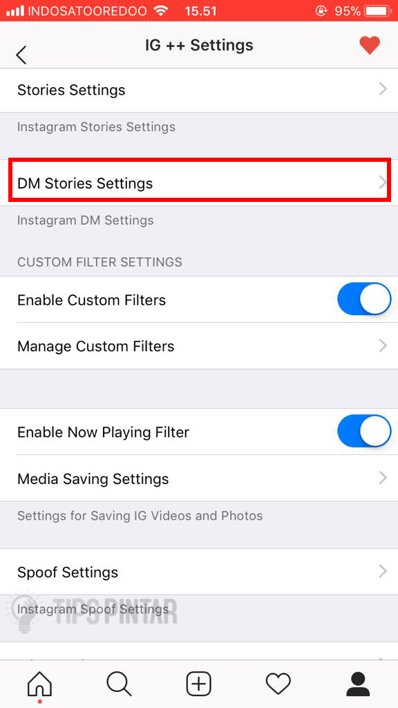 Pilih DM Stories Setting