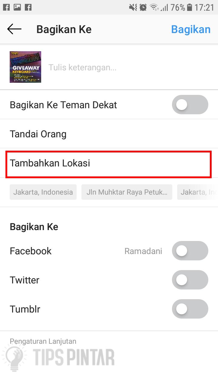 Tambahkan Lokasi di Instagram