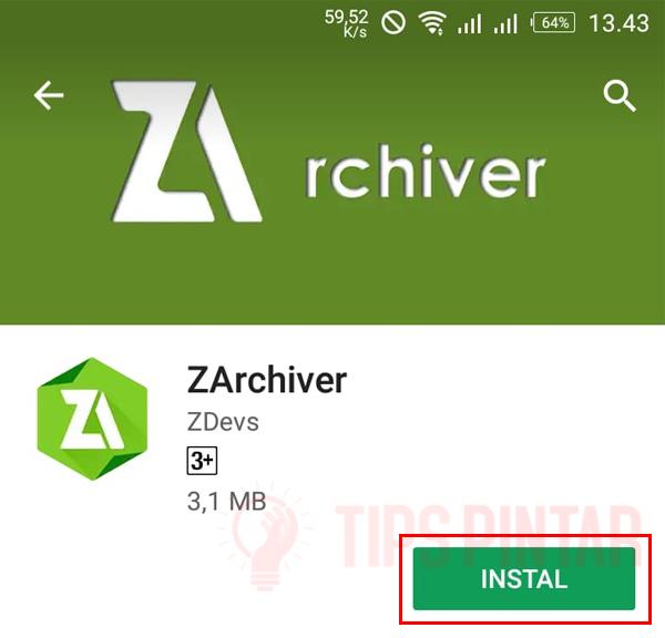 Install ZArchiver