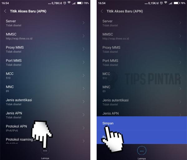 Cara Setting APN 3 di Android