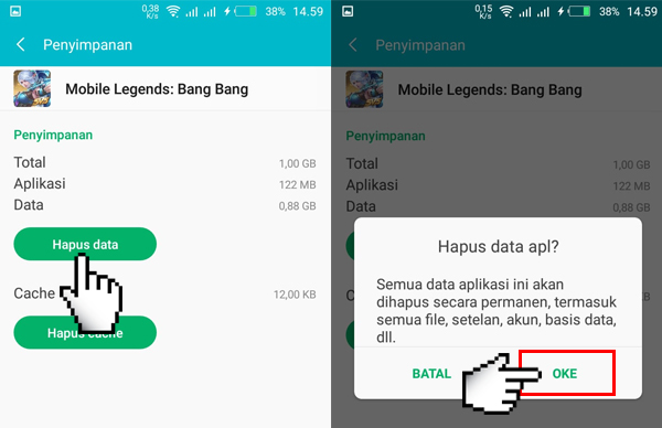 Hapus Data Mobile Legends