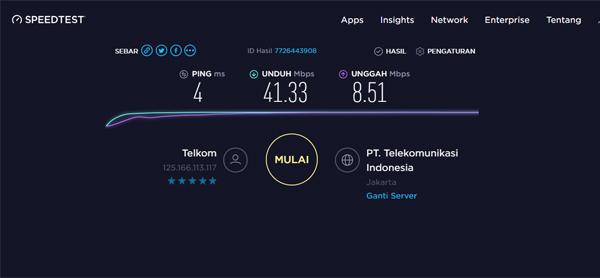 Hasil Kecepatan Internet