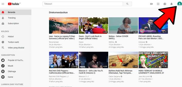Klik Icon Akun YouTube