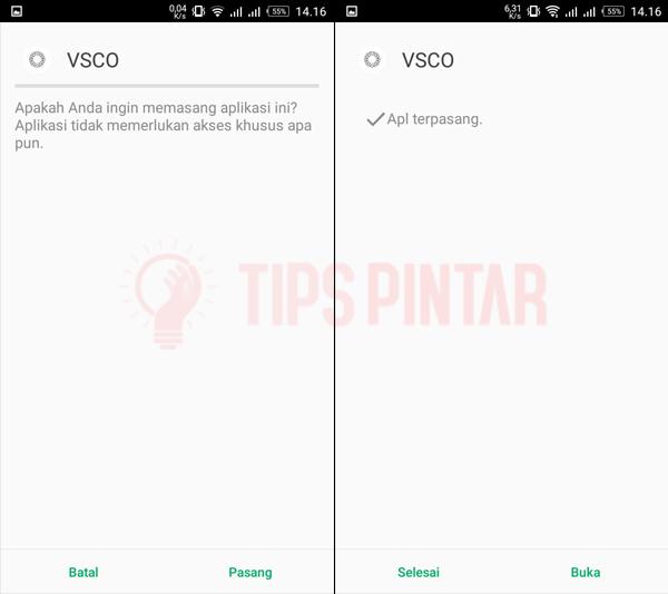 Pasang Aplikasi VSCO