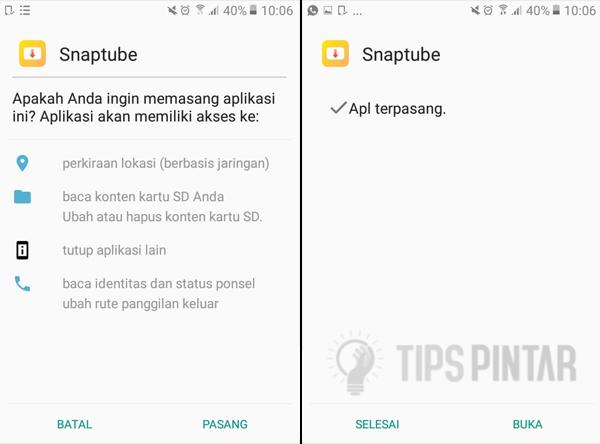 Install Aplikasi SnapTube
