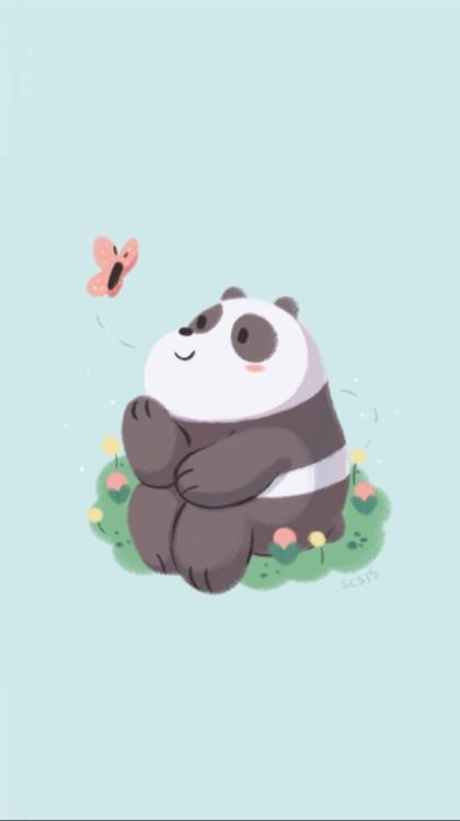 Panda With Butterflies