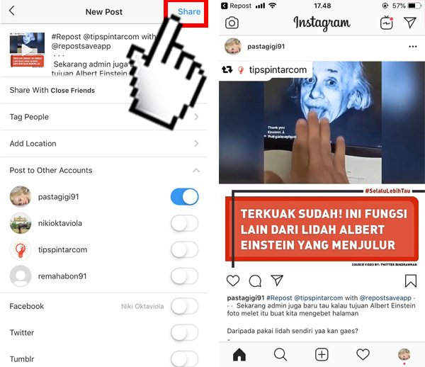 Cara Repost Foto dan Video Instagram di Android