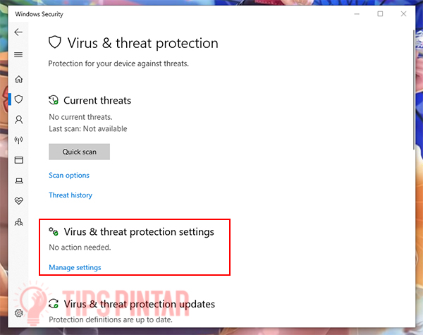 Pilih Virus & threat Protection settings