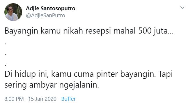 Cuitan Kocak Bayangin Kamu Nikah Resepsi Mahal 500 Juta di Twitter
